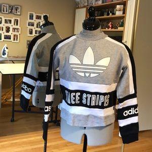Adidas Three Steioes Cropped Crewneck Sweatshirt M